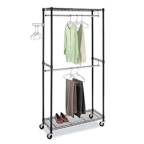 EBLSE Heavy Duty Rolling Garment Rack Clothes Rack with Double Hanger Rods and Shelves Portable Closet Organizer with Wheels Black