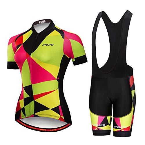 Maillot de ciclismo para mujer, manga corta y babero de verano acolchado para ciclismo, Amarillo, Chest34.6-36.6',waist25.2-32'=Tag L