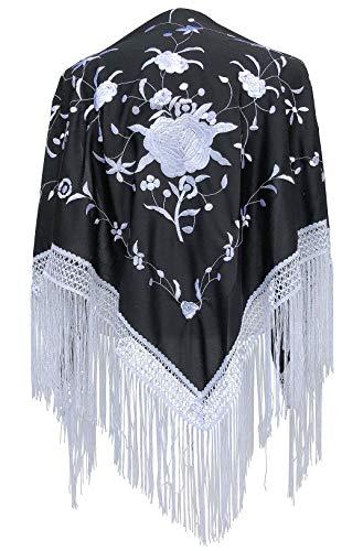 La Señorita Mantones bordados Flamenco Manton de Manila negro blanco flecos blanco