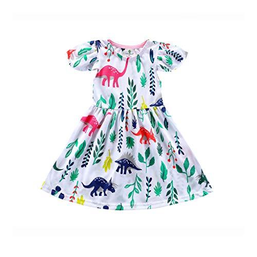 HEETEY Kleinkind-Baby-Mädchen Blumen-Rüschen-Dinosaurier gedruckte Kleid-Ausstattungs-Kleidung Kurzärmliges Kleid mit fliegenden Ärmeln und Dinosaurier-Print