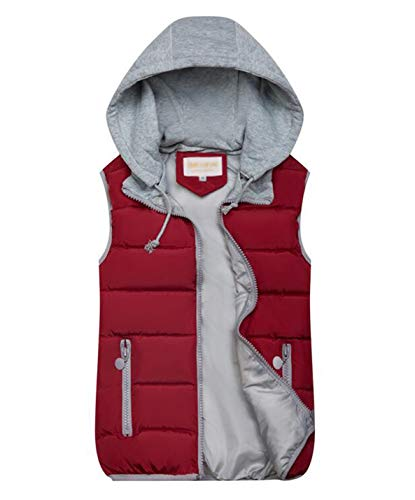 Gihuo Women's Quilted Padded Puffer Vest Gilet with Removable Hood (Large, Wine)