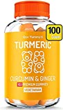 (100 CT) Organic Turmeric Gummies for Adults & Kids | Real Fruit Anti Inflammatory Response Pain Support |Chewable Immune Support Vitamins | Turmeric Ginger Supplement Tumeric Curcumin Ginger Gummies