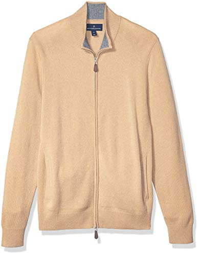 Amazon Brand - BUTTONED DOWN Men's 100% Premium Cashmere Full-Zip Sweater, Camel, X-Large
