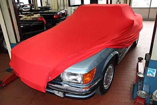 AMS Vollgarage Mikrokontur® Rot ohne Spiegeltaschen für Mercedes SL Cabriolet R107, schützende Autoabdeckung mit Perfekter Passform, hochwertige Abdeckplane als praktische Auto-Vollgarage