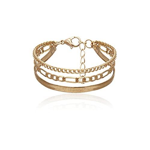 QIN Tobilleras de Pulsera Boho Vintage para Mujer, Cadena de Oro de Serpiente a la Moda, Brazalete con Encanto Multicapa, Tobillo, joyería de pie Femenino