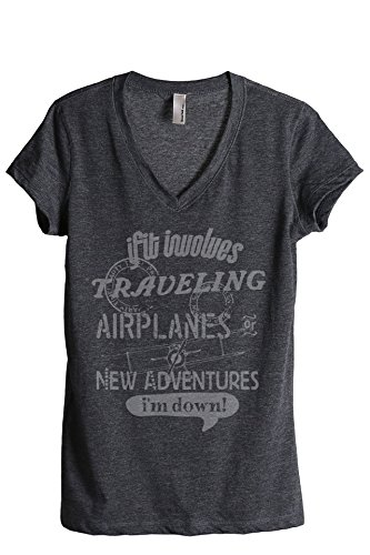 Thread Tank Traveling Airplanes Adventures Women's Relaxed V-Neck T-Shirt Tee Charcoal Small