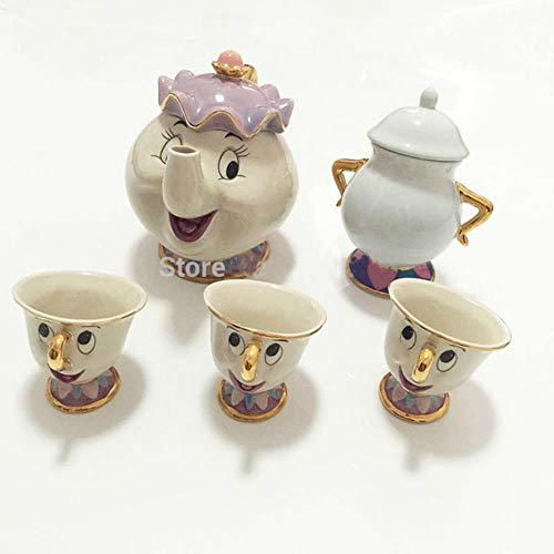 SYART Oude stijl Cartoon schoonheid en het Beest Theepot Mok Mevrouw Potts Chip Theepot Cup Een Set Kerstmis cadeau voor vriend