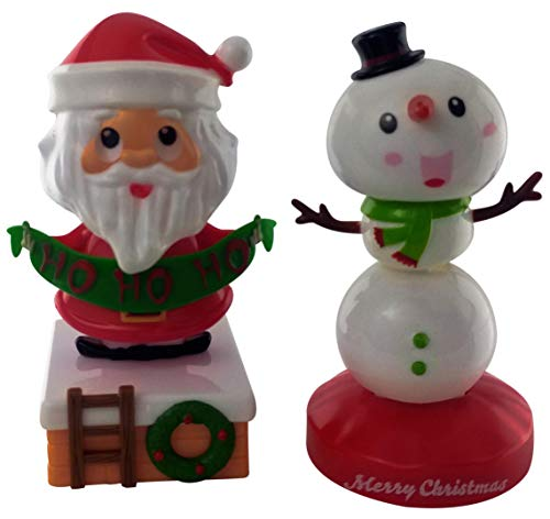 Solar Powered Christmas Santa Claus and Snowman Decorations | Toy Figures for Kitchen Decorations, Desk, Office or Car | Solar Toys or Bobbleheads for Cars