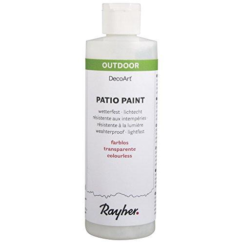 Rayher 38611702 Patio-Paint, farblos, Flasche 236 ml, wetterfeste Acrylfarbe, lichtecht, Farbe für Innen- und Außenbereich, Outdoor-Farbe, Schutzlack, Serviettenkleber, Grundierung