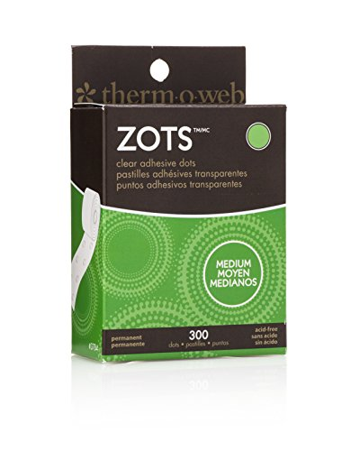 """iCraft Zots Clear Adhesive Dots, Medium, 3/8"""" Diameter x 1/64"""" Thick, 300 Count"""