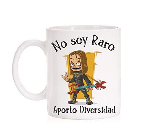 FUNNY CUP Taza No Soy Raro Aporto Diversidad. Taza para Heavy Metal, R
