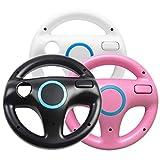 Jadebones 3 x pcs Black White Pink Steering Mario Kart Racing Wheel for Nintendo...