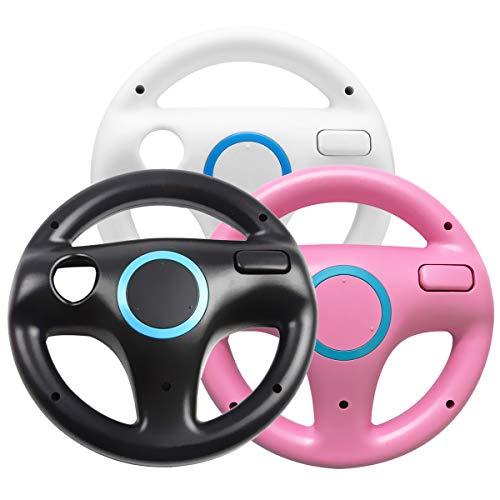 Jadebones 3 x pcs Black White Pink Steering Racing Wheel for Wii and Wii U Remote