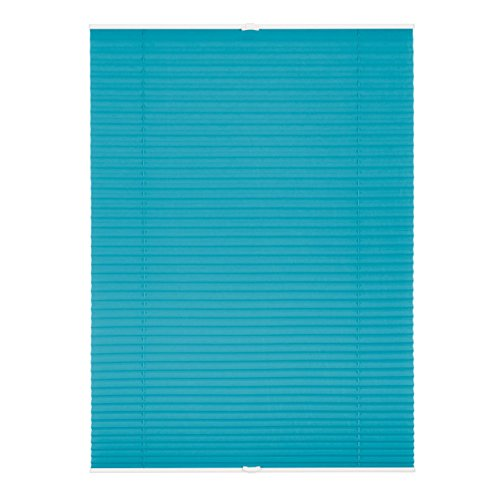 Lichtblick Plissee Klemmfix, 100 cm x 130 cm (B x L) in Blau, ohne Bohren, Sicht- und Sonnenschutz, lichtdurchlässig & blickdicht