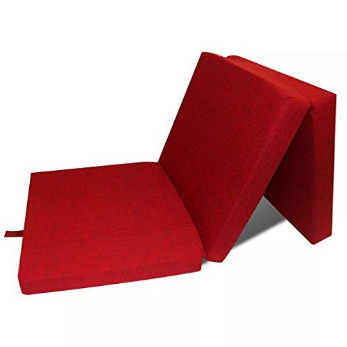 Zora Walter 190¡Á70¡Á9 - Colchón Plegable de 3 Piezas, Color Rojo, con Cierre de Velcro, para visitas en Verano, Picnic, Camping