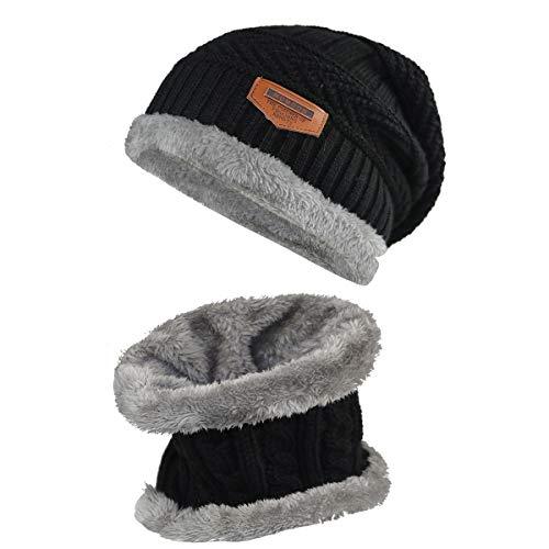 Momoon Dicke Beanie Hut +Schal Set Winter Warmen Schnee Knit Skull Cap für Kinder Jungen Mädchen(Suitable for 6-14, Schwarz, one size(fit teenager 6-14)