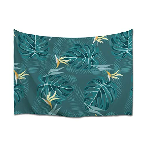 A.Monamour Tapiz de Pared Tropical Exótica Palma Monstera Hojas Y Flores Botánico Fondo Azul Tela Colgante de Pared Tapices Pared Mandala Etnicos Psicodélico Bohemio Hippie