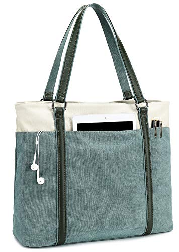 Women Tote Bag for Work Teacher Canvas Laptop Tote Lightweight Handbag Shoulder Bag Canvas Tote Bag for Laptop 15.6 Inch (Light Green)