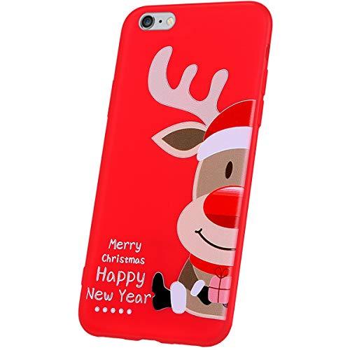 JAWSEU Funda Compatible con iPhone 6/6S, Cárcasa Brillante de Dibujos Animados Navidad Diseño Suave Silicona Gel TPU Goma Bumper Carcasa Ultra Delgada Slim Antigolpes Protectora Cubierta,Alce-2