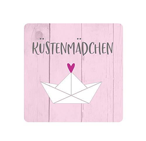 KT-Schmuckdesign Untersetzer aus Holz in rosa mit Papierboot-Motiv und Schriftzug Küstenmädchen, Moderne Untersetzer für Gläser, Maße - 8,7 x 8,7 cm, 5 mm dick