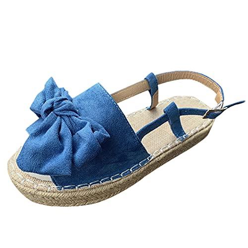 Sandalias de correa con hebilla de nudo de mariposa con punta abierta y parte inferior gruesa informal de moda para mujerZapatillas huecas transpirables zapatos de agujero plano