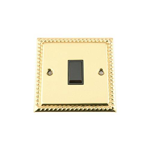 Light Switch 1 Gang - Polished Brass Georgian - Black Insert Plastic Switch - 10 Amp Single 1 Gang 2 Way
