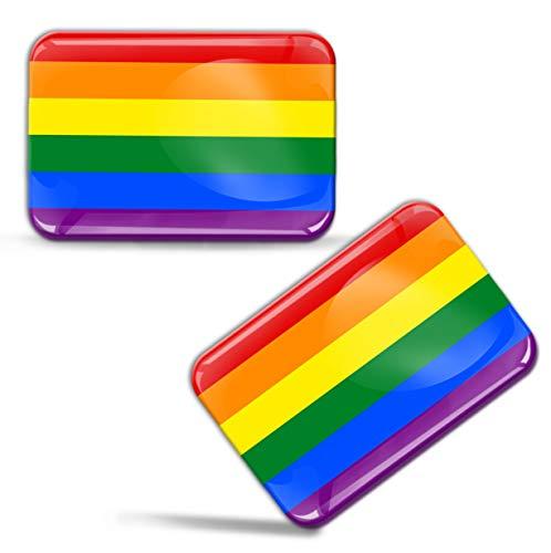 2 x 3D-gel siliconen stickers LGBT Pride Rainbow vlag regenboogkleuren Lesbian Gay auto motorfiets raam deur PC mobiele telefoon tablet laptop F 65
