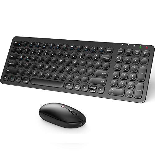 iClever GK15 Wireless Keyboard and Mouse Combo - Rechargeable Wireless Keyboard with Number Pad, Ergonomic Design Full Size 2.4G Stable Connection Slim Keyboard and mouse for Mac OS and Windows, Black