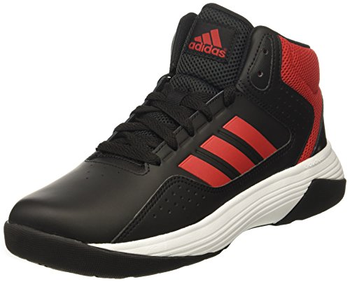 adidas Kids' Cloudfoam Ilation Mid Basketball Shoe, Black/Scarlet/White, 1 Medium US Little Kid