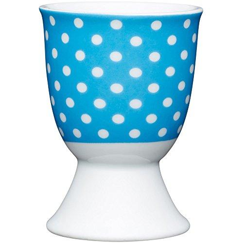 Kitchen Craft KCEGGPOLKABLU Coquetier en Porcelaine, Bleu, 9 x 12 x 16 cm