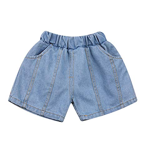 Lefyira Toddler Boys Girls Denim Shorts with Pockets Solid Color Stretchy Elastic Waist Jeans Shorts Beachwear Outfits (D-Blue#3, 2-3T)