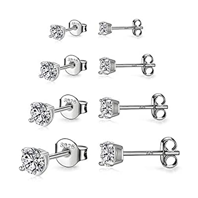 925 Sterling Silver Stud earrings Set | White Gold Plated Hypoallergenic Stud Earrings | Cubic Zirconia Stud Earrings for Women Girls (3mm?4mm?5mm?6mm)