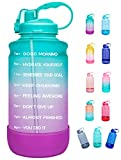 Elvira Half Gallon/64oz Motivational Time Marker Water Bottle with Straw & Protective Silicone Boot, BPA Free Anti-slip Leakproof for Fitness, Gym and Outdoor Sports-64oz-Green/Purple Gradient