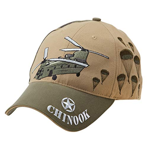 CH-47 Chinook Helicopter Embroidered Khaki Cap with Olive Bill and United States Flag Adjustable Strap