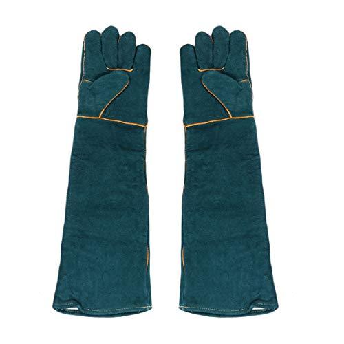 Balacoo 1 Paar Leder Tierhandschuhe Anti Biss Anti Kratzhandschuhe Schutzhandschuhe für Katze Hund Vogel Schlange Papagei Eidechse 58Cm