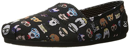 BOBS from Skechers Women's Bobs Plush - Pup  Flat, Black Pup , 6 M US