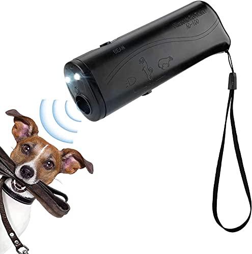 3-en-1 ultrasónico prevención de ladridos de perros entrenador de perros de mano disuasivo equipo de entrenador de tapones para perros controlador de ladridos externo LED adecuado para perros pequeñ