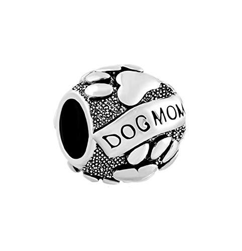 MiniJewelry Women Dog Mom Paw Print Animal Bead Charm for Bracelets fit Pandora Charms Bracelets