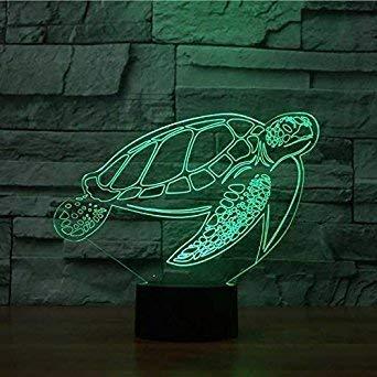 Illusion 3D Tortues LED Lampe Art Déco Lampe Lumières LED Décoration Lumière Touch Control 7 Couleurs Change Alimenté par USB Enfants Cadeau Anniversaire Noël Cadeau