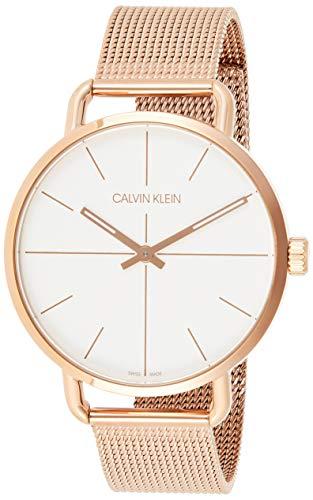 Calvin Klein Damen Analog Quarz Uhr mit Echtes Leder Armband K7B231YM