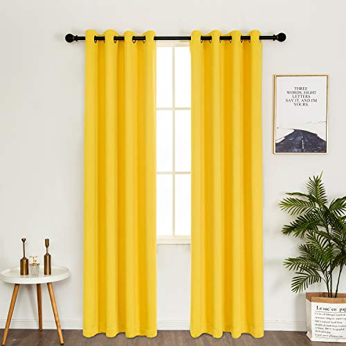 MERRYLIFE Thermal Insulated Grommet Blackout Curtain Decorative Window Curtain Panels Top Panel Drapes for Bedroom 54W×84L 1 Pair 2 Panels