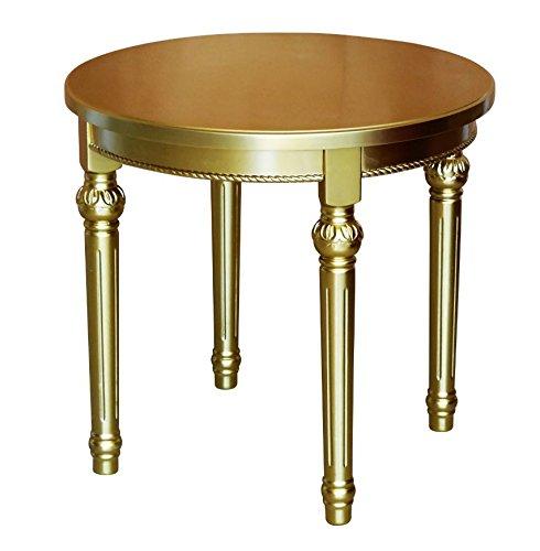 Teetisch / Beistelltisch rund aus Holz, Gold, im Barockstil