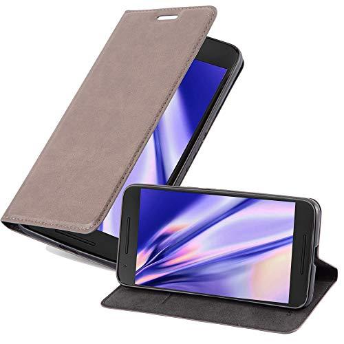 Cadorabo Hülle für Huawei Nexus 6P in Kaffee BRAUN - Handyhülle mit Magnetverschluss, Standfunktion & Kartenfach - Hülle Cover Schutzhülle Etui Tasche Book Klapp Style