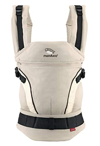 manduca First Baby Carrier > HempCotton sand < Babytrage aus weichem Canvas (Hanf & Bio-Baumwolle) Rückenverlängerung & Ergonomischer Hüftgurt, Bauchtrage, Hüft und Rückentrage (3,5-20kg) beige