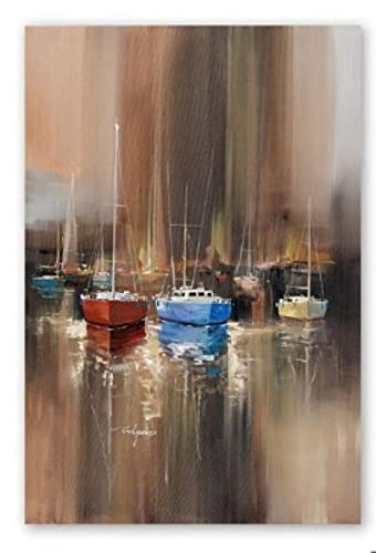 Modern Abstract Harbor Sailboat Painting Canvas Art Print Poster Picture Living Room Room Home Decor Murals (15.74x23.62 in)40x60 cm Frameless