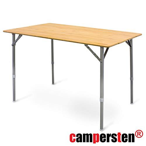 campersten Design XXL Campingtisch mit Bambusplatte   höhenverstellbar   klappbar   Witterungsbeständig   Flaschenöffner auf der Unterseite