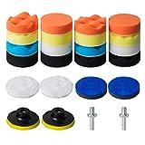 STUHAD 3-Inch Polishing Pad Kit, 24pcs Sponge Buffing Pads for Car Foam Drill, Car Care Polisher Buffing Kit for Waxing, Polishing, Sealing Glaze