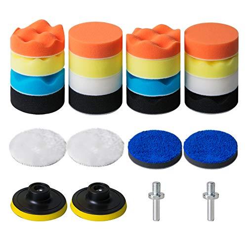 STUHAD 3-Inch Polishing Pad Kit, 24pcs Sponge Buffing Pads for Car Foam Drill, Drill Buffer Attachment for Waxing, Polishing, Sealing Glaze