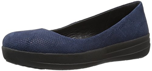 Fitflop F-sporty Ballerina Snake, Bailarinas Mujer, Azul (Midnight Navy Snake-Embossed), 43 EU (9 UK)