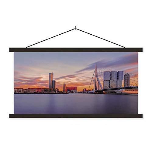 Textil Poster Rotterdam - Skyline von Rotterdam mit Erasmus-Brücke 120x60 cm Wandbild auf Textil mit Schwarz Rahmen - Scroll Poster/Textilplakat/ Schulplakat Wanddeko/ Wall Art